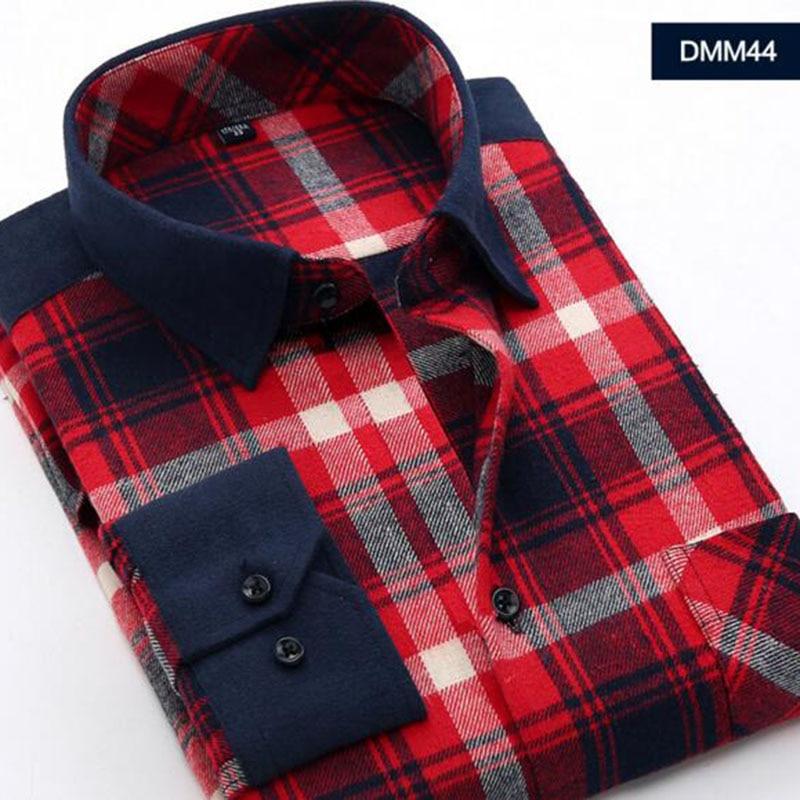 a0c676eb0e9 Мужская Фланелевая рубашка в клетку 100% хлопок 2019 Весна Осень  Повседневная рубашка с длинным рукавом Мягкая комфортная приталенная  стильна.