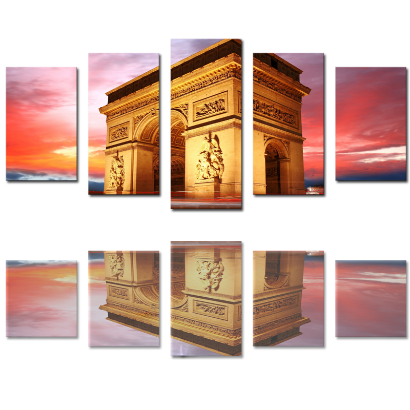 5 Panels (No Frame) Canvas Wall Art  Architecture Landscape Pictures Paint on Canvas Painting for Home Kitchen Decorative no frame canvas