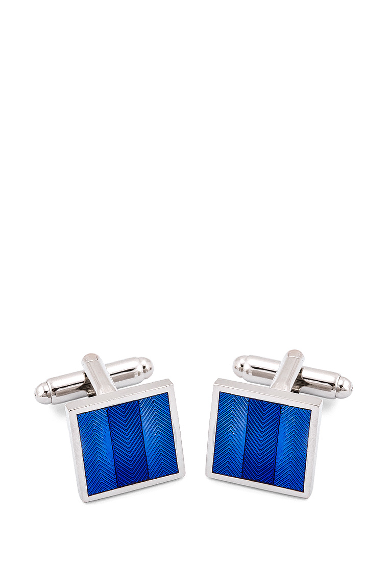 [Available from 10.11] Cufflinks gift box GREG 210112 Silver round tellurion plating enamel cufflinks silver light blue pair