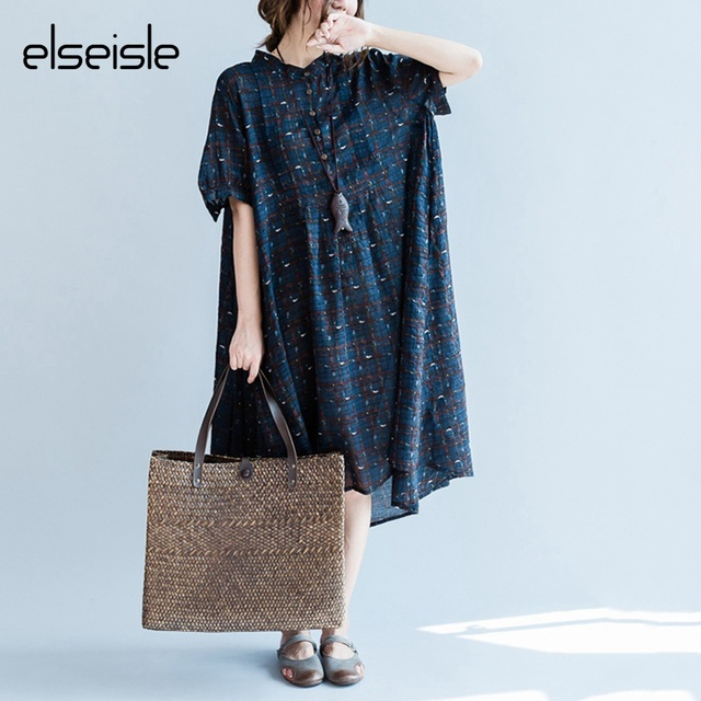 6689ff7ff96c 2017 Plaid Summer Dress Cotton Linen Casual Oversized Shirt Dress Plaid  Print Women Elegant Dresses Plus Size Women Clothing