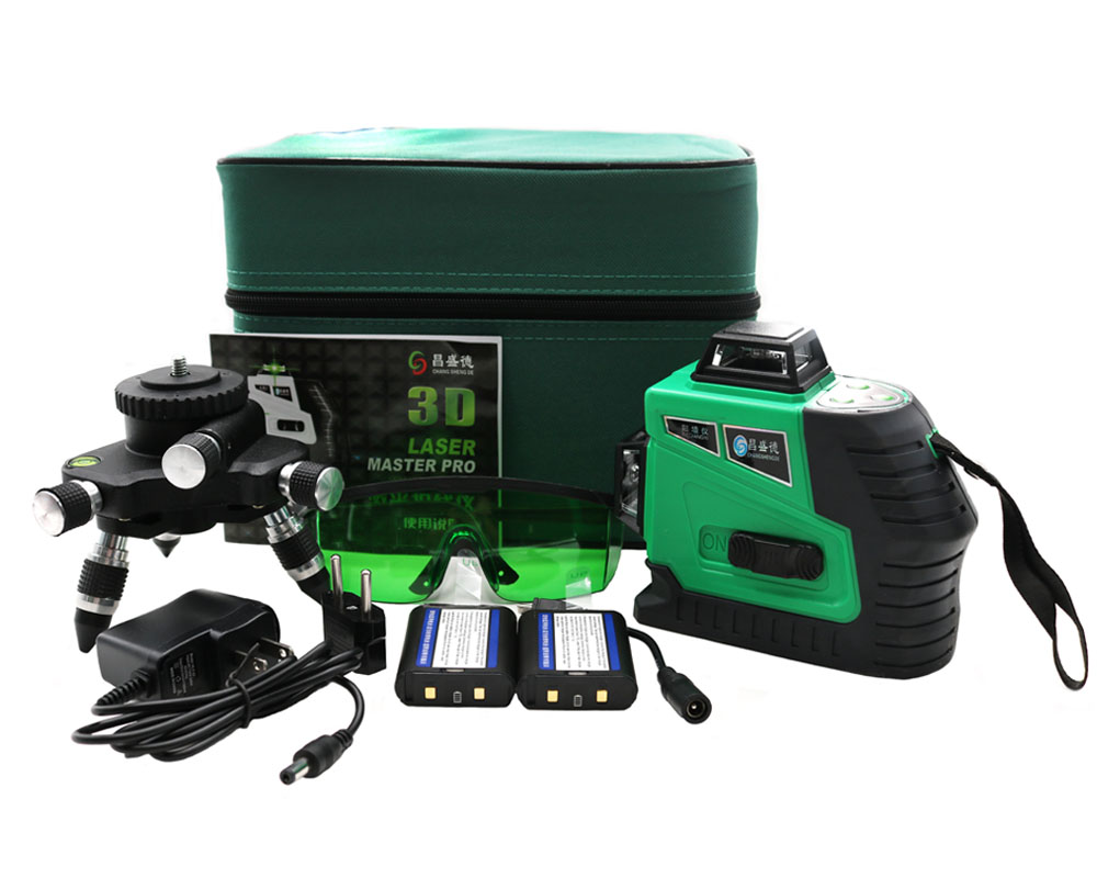 New 3D Green 12 Lines Laser Level 360 Rotary Self Leveling with Battery and Tilt Slash