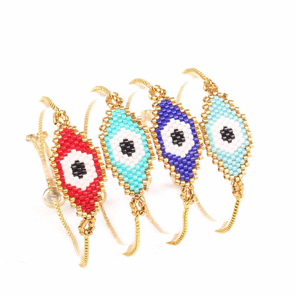 Schinus Miyuki สร้อยข้อมือ Evil Eye สร้อยข้อมือ Miyuki Pulsera Mujer ตุรกีสร้อยข้อมือ Boho Gold Chain เครื่องประดับฤดูร้อนลูกปัด Loom 2019