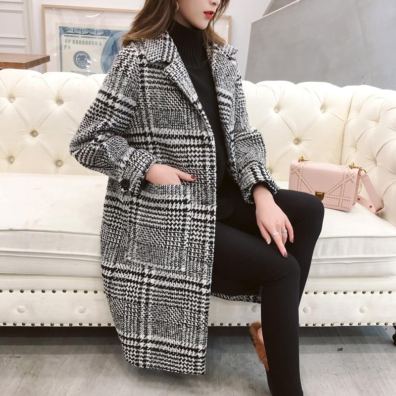 Blanc Femelle 1 Tartan Laine Mode D'hiver Manteau Lâche Long Nouveau De 2018 Et Les Automne Noir Femmes Vêtements TvwTCq6