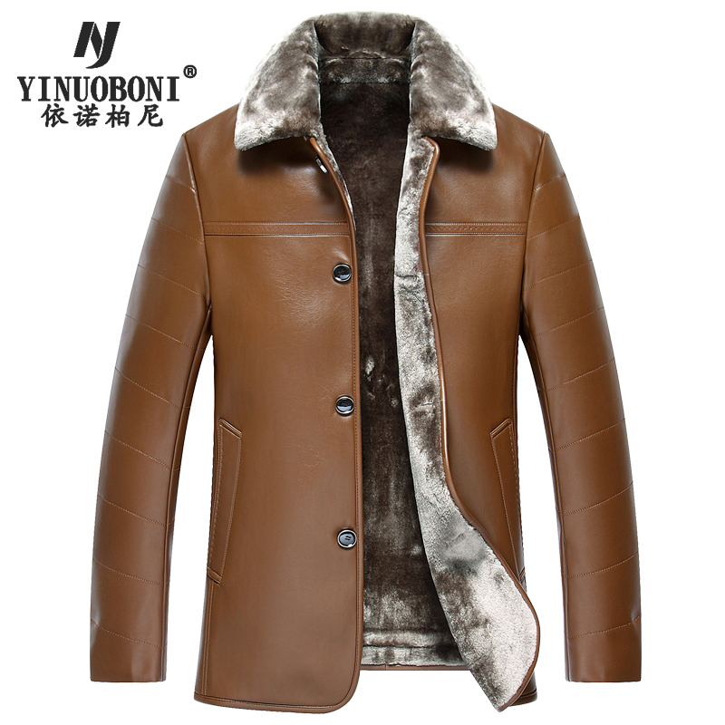 Men Genuine Jacket Winter Faux Fur Sheepskin Coat For Men's Brand Jacket Male Solid Turn-down Collar Natural Leather Jacket XXXL