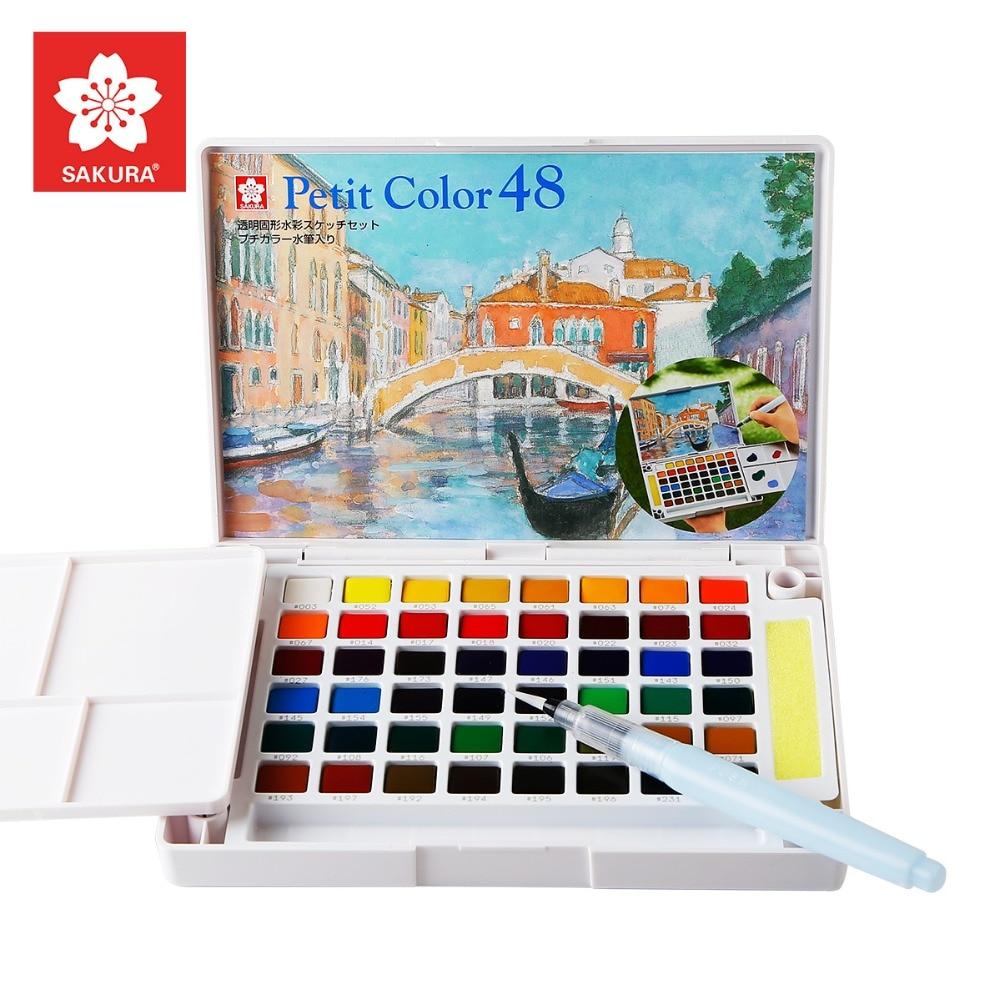 Sakura12/18/24/30/48/60/72Colors Watercolour Paint Box Portable Solid Petit Watercolor Paint Set Outdoor Art Drawing Painting Art Markers    - title=