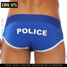 ORLVS Men Undrewear Briefs Gay Mens Bikini Slip Men Cotton Stripe 3D Pouch Under