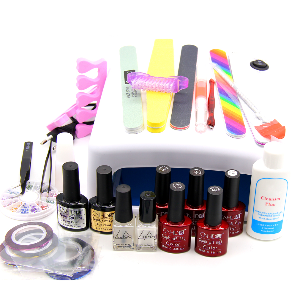 Nail Art Manicure Tools 36W UV Lamp With 7.5ml Gel Nail Polish Base Gel Top Coat Polishs for Practice Set UV Glue Nail DIY Kits cnhids in 36w uv lamp 7 of resurrection nail tools and gortable package five 10 ml soaked uv glue gel nail polish