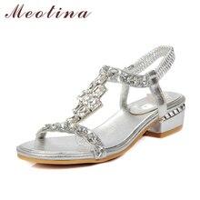 Meotina Женские босоножки босоножки с открытым носком на среднем каблуке со стразами туфли для невесты женские вечерние туфли для свадьбы шикарные босоножки размеры 34–43