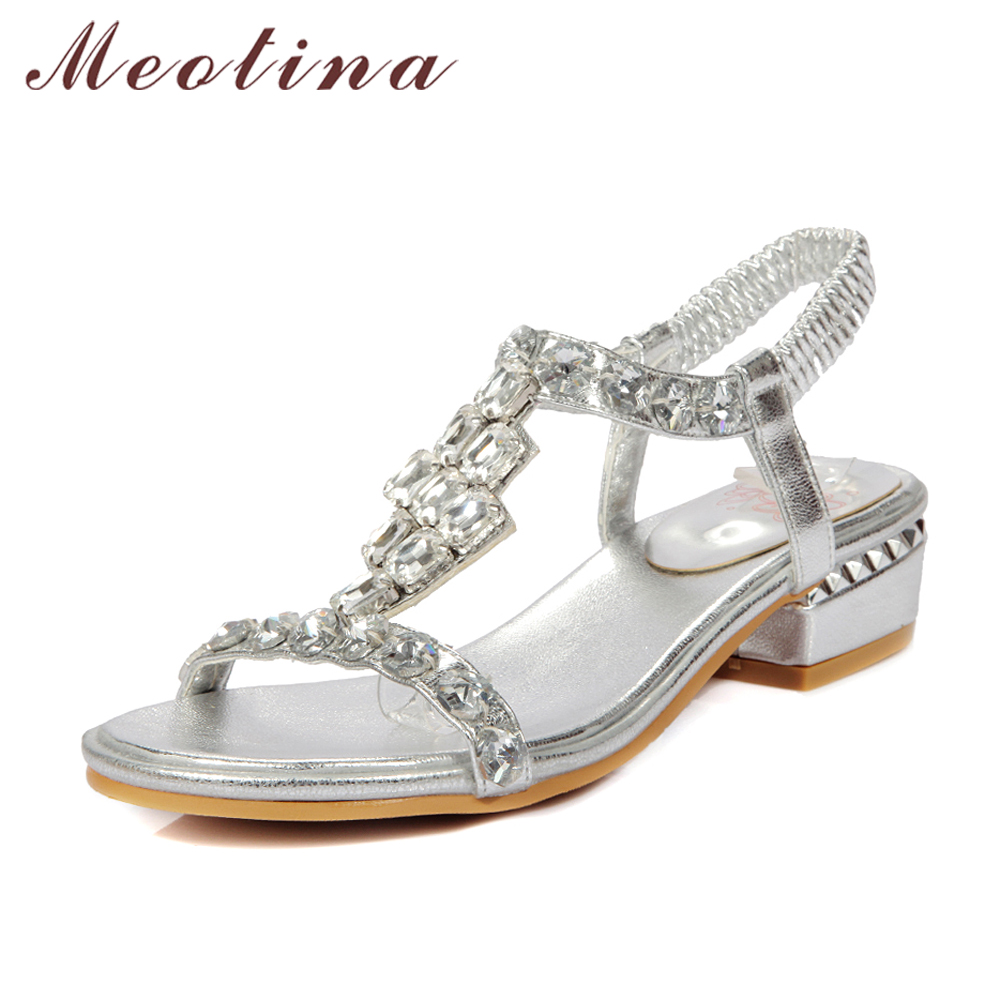 Meotina Women Sandals Open Toe Mid Heels Rhinestone Sandals Shoes Women Party Bridal Wedding Shoes Luxury Sandals God Size 34-43