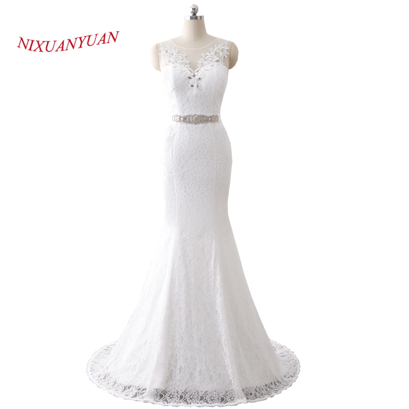 NIXUANYUAN 2018 New Elegant Appliques O Neck White Ivory Lace Wedding Dress 2017 Mermaid Bridal Gown Vestido De Noiva With Sash