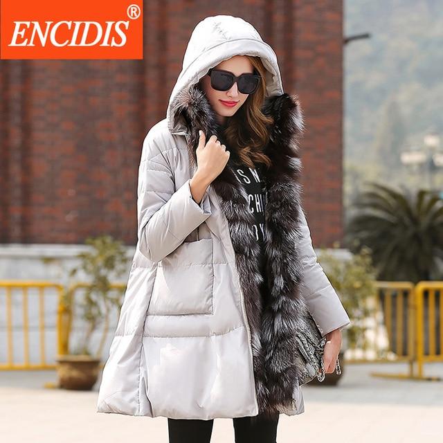 Venda quente Das Mulheres Para Baixo Casaco de Inverno 2016 Novas Senhoras Com Capuz jaqueta Feminina Casacos Longos Quentes High-grade Fox Gola De Pele Jaquetas Y109