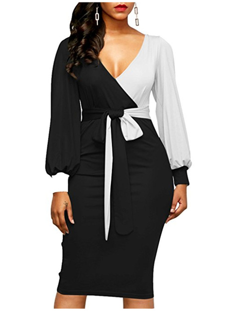 Women Fashion Sashes Sexy Office Lady Work Dress Long Sleeve Deep V Neck Contrast Color Shirt Dress 2018 Winter Women Dress Xxl