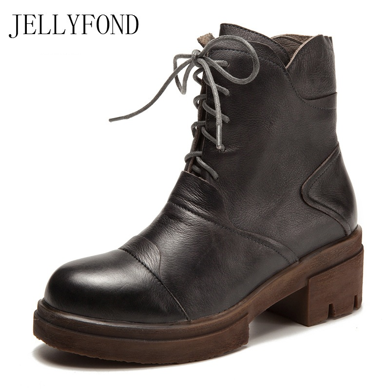 JELLYFOND Genuine Leather Designer Platform Women Ankle Boots Round Toe Lace Up Punk Combat Boots Work Brand Shoes Woman steel toe women combat ankle boots platform ankle boots for women work
