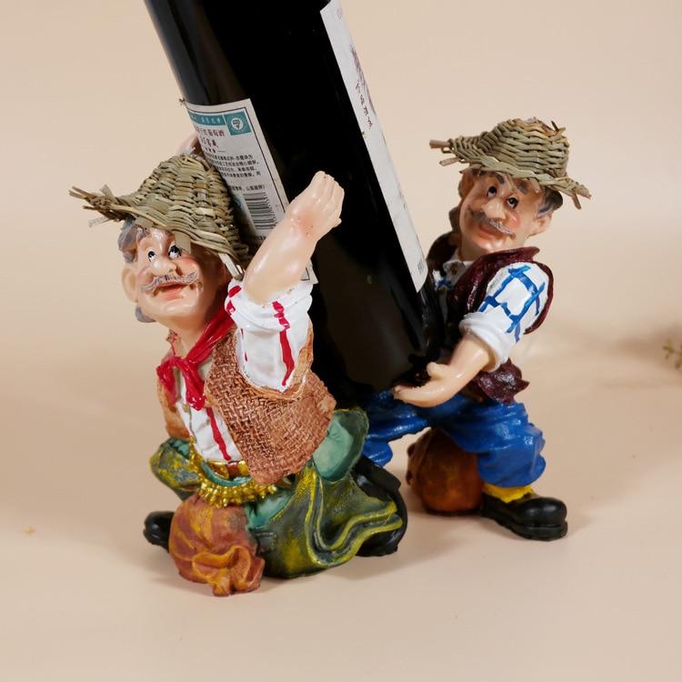 Private custom Resin Figure craft farmers to raise wine wine rack individual wine rack home decoration