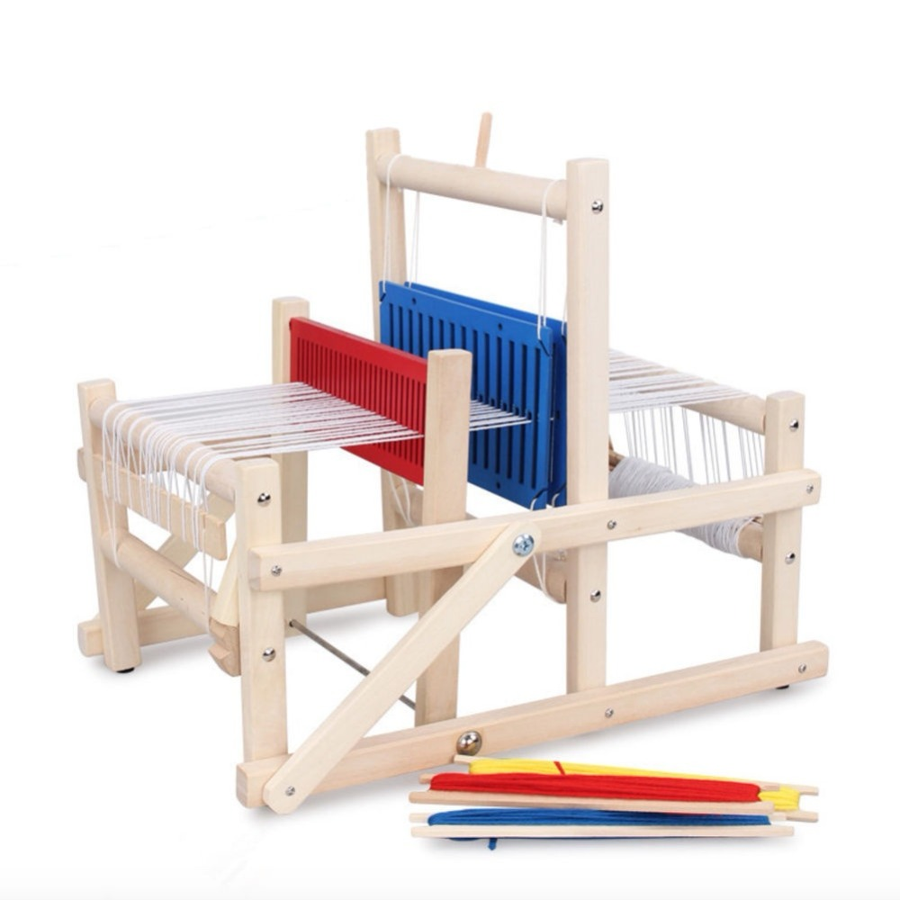 Wooden Traditional Weaving Loom Educational Craft Baby Art Toys Craft Wooden Weaving machine Sewing Accessories