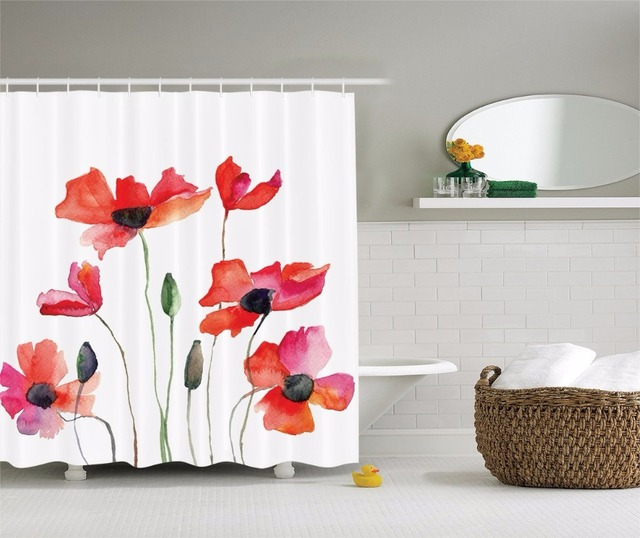 High Quality Arts Shower Curtains Poppy Flowers Red Watercolor Series Bathroom Decorative Modern Waterproof