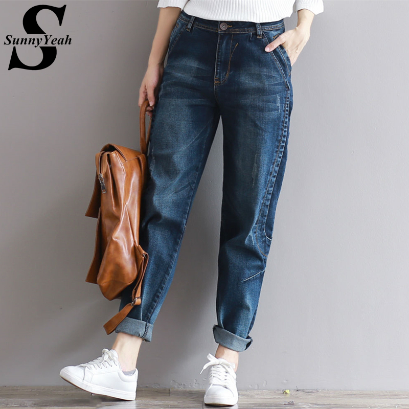 SunnyYeah 2018 Boyfriend Women Jeans Denim Harem Pants Female Casual Trousers Femme Plus Size High Waist Jeans mujer Vaqueros kobeinc white jeans for women summer 2017 new casual fashion high waist printing slim fit cropped jeans trousers jeans femme