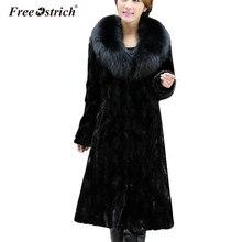 Бесплатная страуса зиму Искусственный мех пальто женский, черный с длинным рукавом меховой воротник Теплая куртка Повседневное верхняя одежда негабаритных Топы корректирующие D45