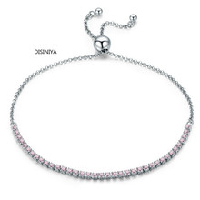 DISINIYA  2019 New 925 Sterling Silver Luminous Strand Bracelet Tennis Women Jewelry SCB045