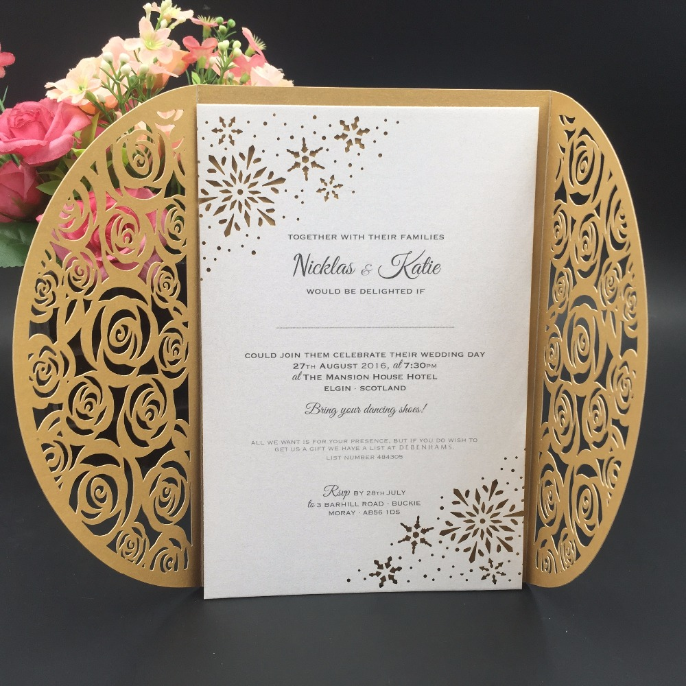 Us 83 0 Arabic Wedding Invitation Cards Lovely Rose Laser Cut Wedding Invitation Card In Red In Cards Invitations From Home Garden On Aliexpress