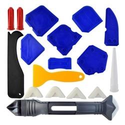 18 sztuk zestaw narzędzi do uszczelniania  3 w 1 narzędzia do uszczelniania uszczelniacz silikonowy narzędzie do wykańczania Grout skrobak Caulk Remover Caulk Nozzle w Ściągaczki od Dom i ogród na