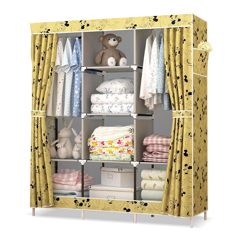 Actionclub Large Non-woven Cloth Wardrobe Closet Moisture-proof Dust-proof DIY Assembly Fabric Wardrobe Home Furniture