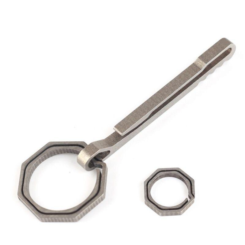 Octagonal Ring EDC Titanium Alloy Key Chain Multi Functional Buckle Carabiner Outdoor Clip  Outdoor Multi-tool