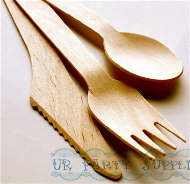 120pcs Wooden Spoons/Forks/Knives Disposable Natural Wood Utensils Kids Birthday Party Sugar Body Scrub Spoons Tableware ...