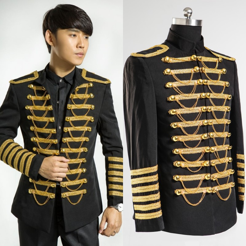 Men Dress In Black Suits And Gold Embroidery Wedding Suits