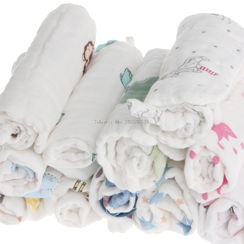 25x25cm Muslin 6 Layers Cotton Baby Wipe Towel Absorbent Soft Baby Handkerchief -B116
