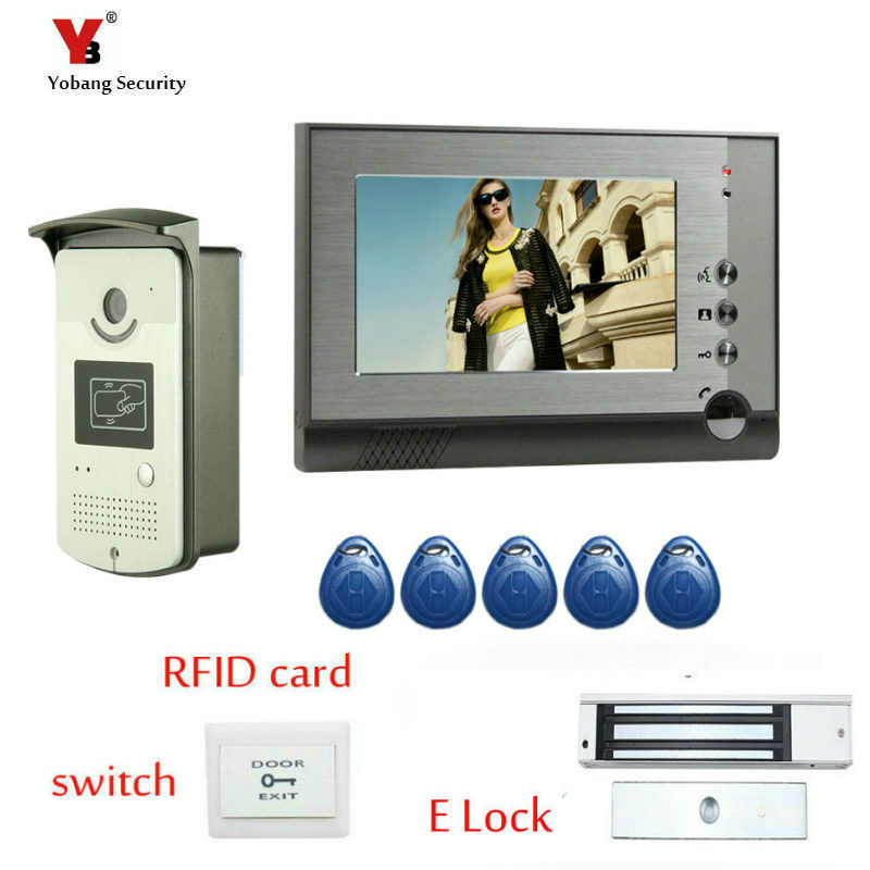 Yobang Security FREE SHIPPING Home 7 inch Video DoorPhone Intercom System Kit Set+1 Monitor+Night Vision Outdoor Camera In Stock free shipping new wired 7 inch color tft touch white monitor video doorphone intercom system night vision door camera in stock