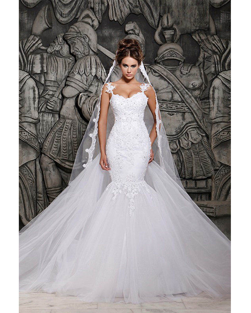 Luxurious white beaded rhinestone mermaid princess wedding for Princess mermaid wedding dresses