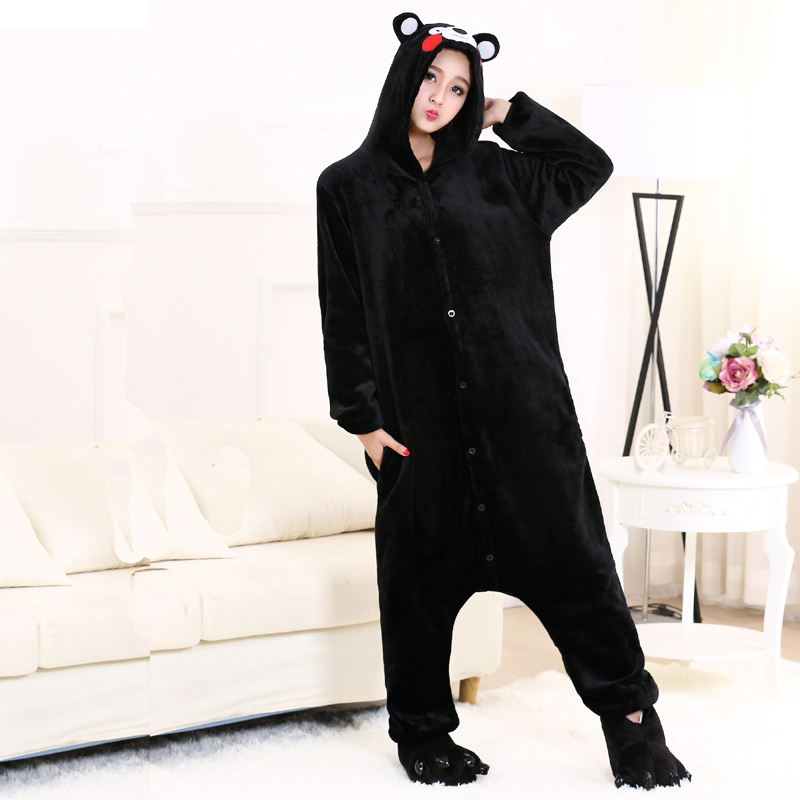 Cute Kumamon Kigurumi Onesie Animal Adult Men Women Black Pajamas For Halloween Party Jumpsuit Soft Flannel Cosplay Costume (6)