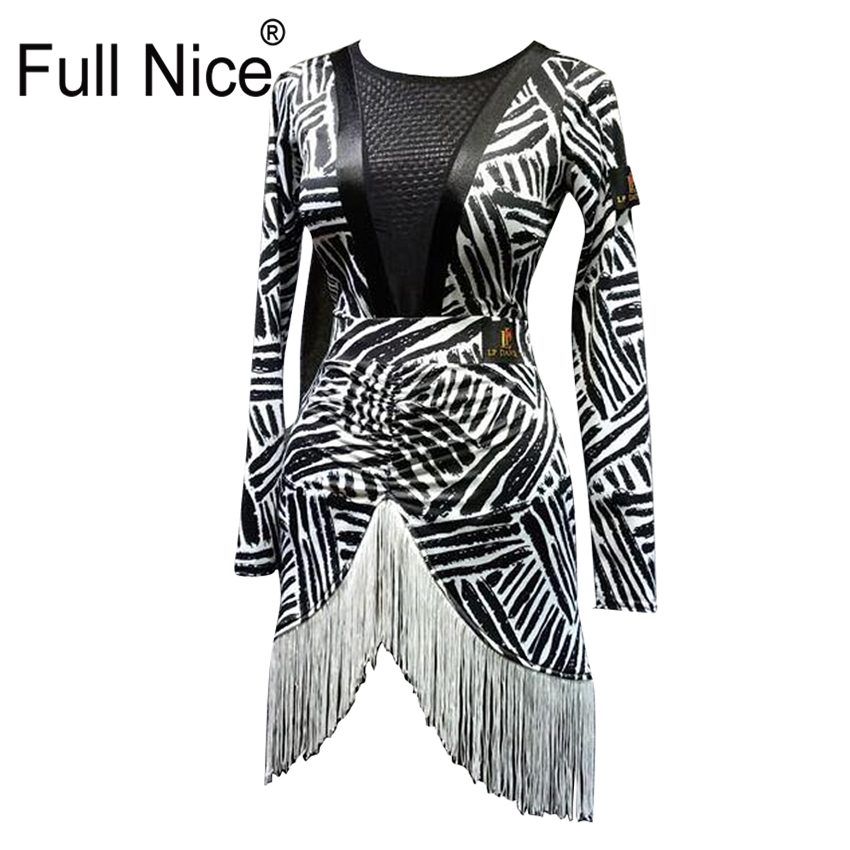 Women Girl Latin dance wearing clothes Leotard tops and skirt 2 pieces set Fringe Ballroom dancing