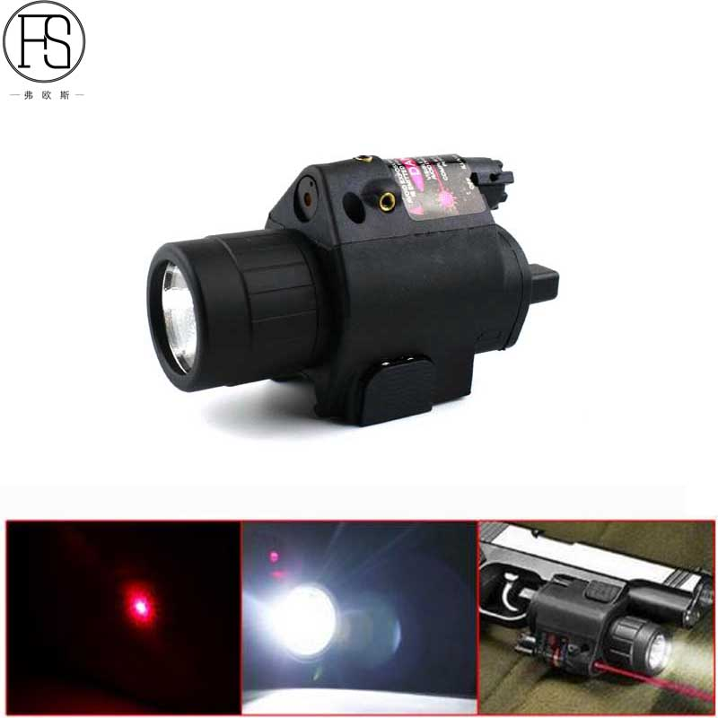 Hot! 2 in 1 Tactical Red Dot Laser Sight Combo LED Flashlight Rifle Pistol Outdoor Hunting Shooting Laser Sight Scope 20mm Rail sq 2 2 in 1 pistol style 1 led white 1 led red flashlight keychain bronze black 3 x lr41