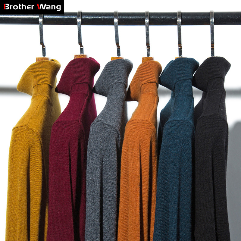 2019 Winter New Men's 100% Pure Wool Turtleneck Sweater Business Casual Solid Color Slim Thick Warm Cashmere Brand Clothes