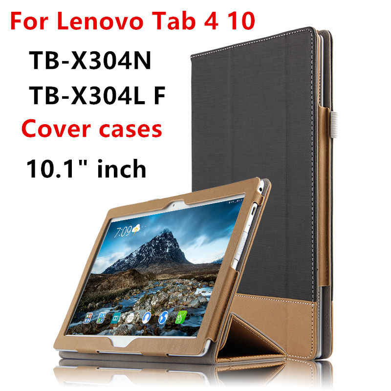 "Case Cover For Lenovo TAB4 Tab 4 10 X304L F N Smart Protective covers Leather TB-X304N F L 10.1"" Tablet PC Cases PU Protector"