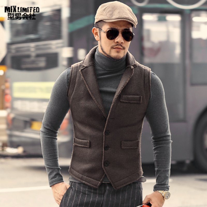 Vest Waistcoat Casual Single-Breasted Men's Retro Winter M236 Faux-Fur Warm Thick European-Style