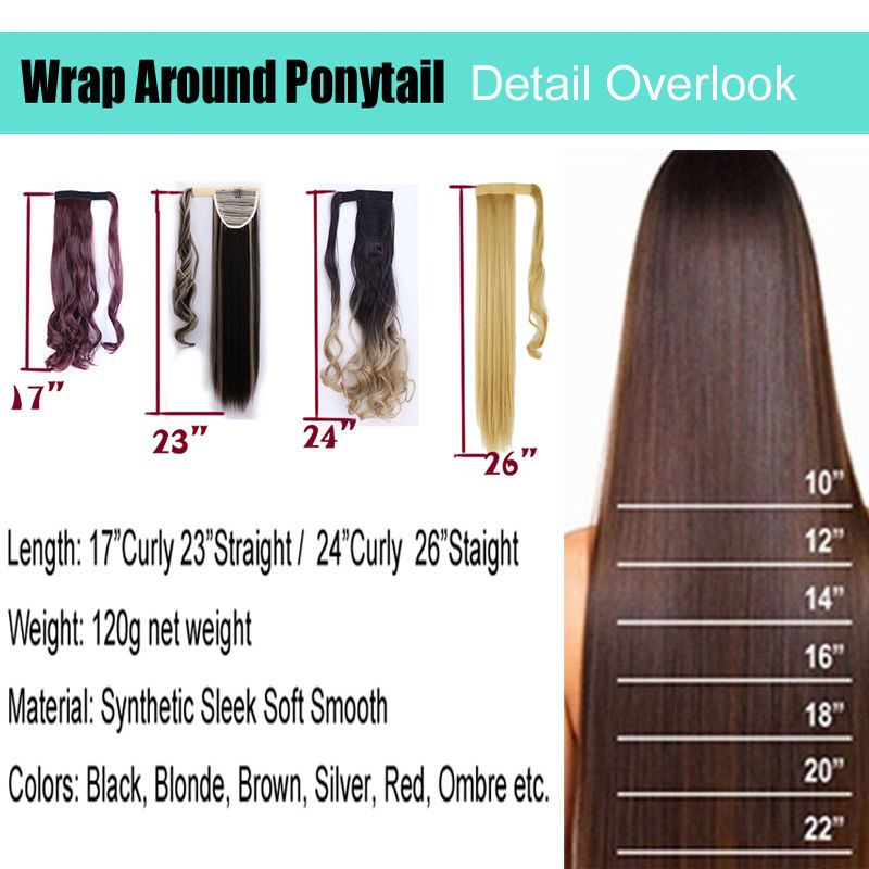 SNOILITE 17''23'' Long Silky Straight Ponytails Clip In Synthetic Pony Tail Fake Hair Extension wrap round hairpiece for women 2