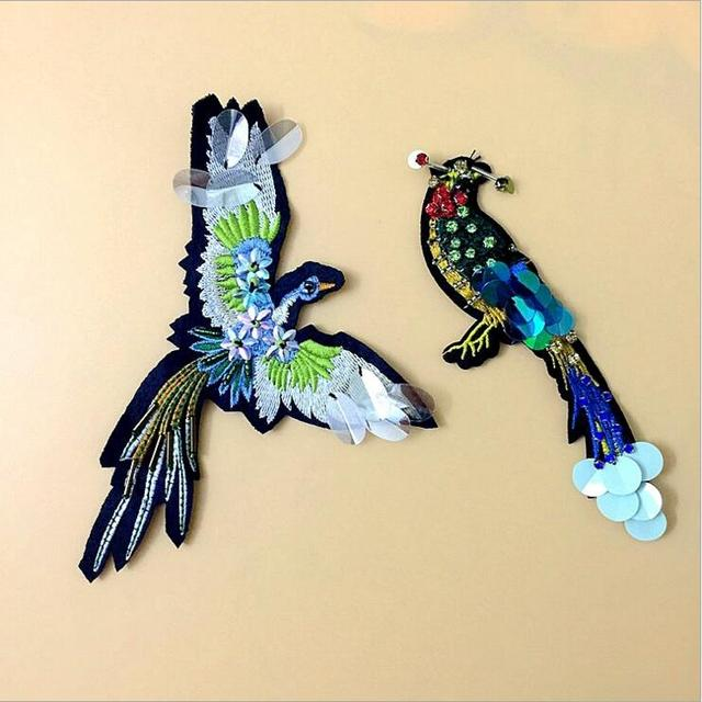 1pcs Sequined Bird Patch for Clothes Sewing on Rhinestone Beaded Applique  for Jackets Jeans Bags Shoes f60743ed1c7c