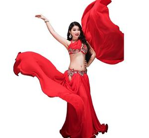 Image 4 - Yeni kadın dans yarışması kostüm 3 parça Set oryantal dans performansı gösterisi giyim Bling Bling Max etek kırmızı beyaz