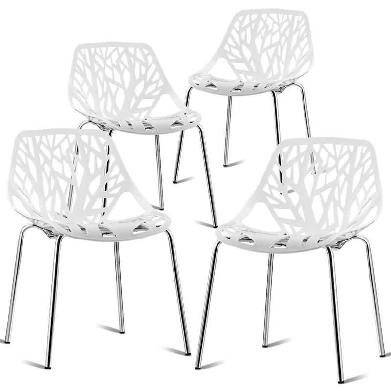 Pleasing Us 155 38 45 Off Set Of 4 Dining Birch Sapling Accent Armless Side Chairs Morden Steel Ergonomic Design Home Dining Room Chairs Hw59405 4 In Dining Gmtry Best Dining Table And Chair Ideas Images Gmtryco