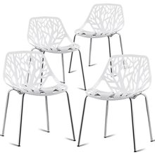 Set of 4 Dining Birch Sapling Accent Armless Side Chairs Morden Steel Ergonomic Design Home Dining Room Chairs HW59405-4(China)