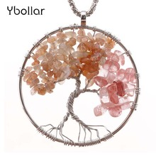 Pink Natural Stone Beads Tree of Life Pendant Alloy Wire Wrapped Handmade Necklace Jewelry For Women Girl Sweater Chain a suit of graceful multilayered beads sweater chain and earrings for women