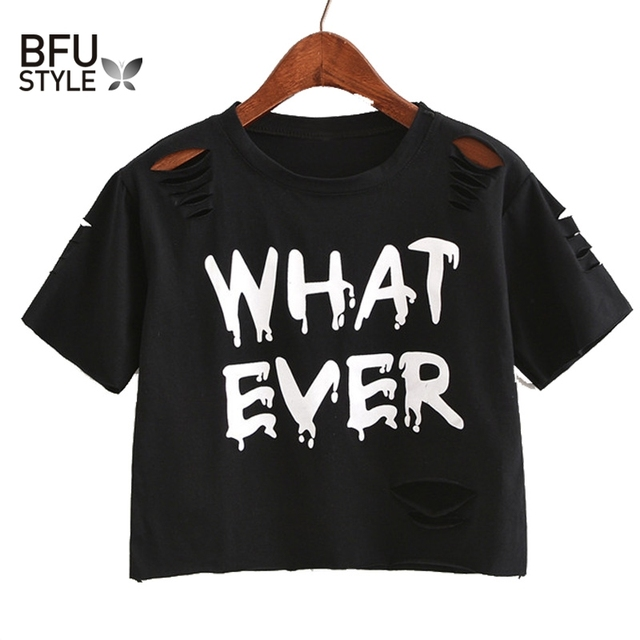 f01559e04400 Women Sweet Crop Top Holes T Shirt Hip Hop Letter Print Casual O Neck Tees  Ladies Fashion Black Cute Streetwear Tops Camisetas