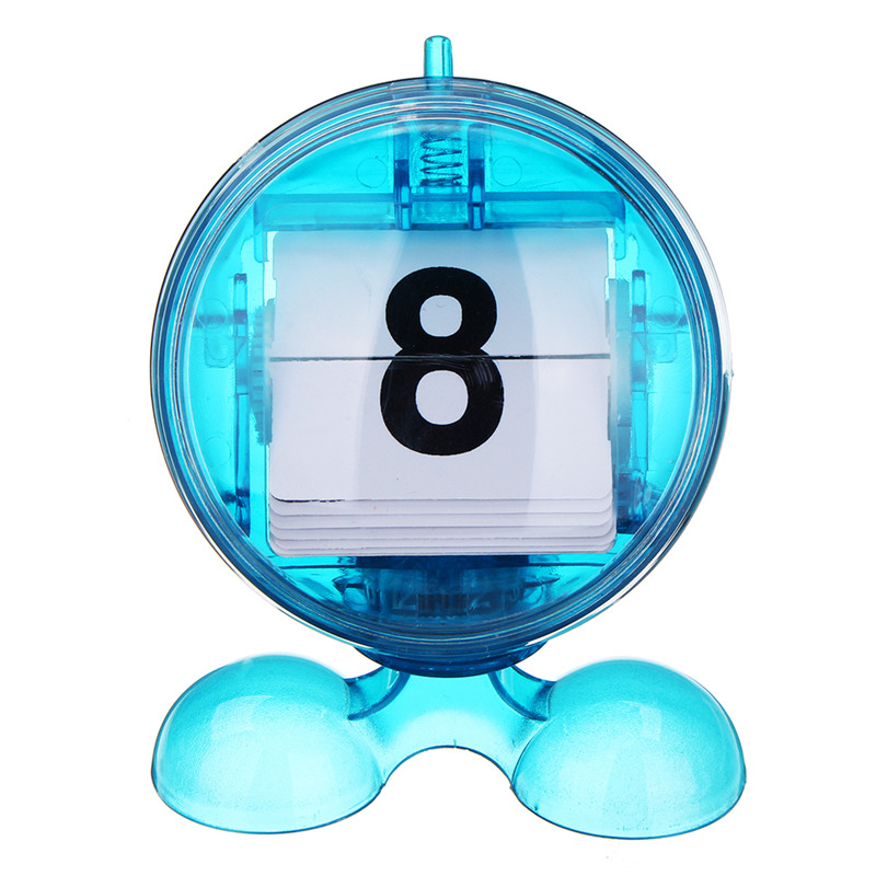 Round Blue Desktop Manual Mini Flip-page Calendar Counter ABS Digital Display Day Month Perfect For The Home Or Office