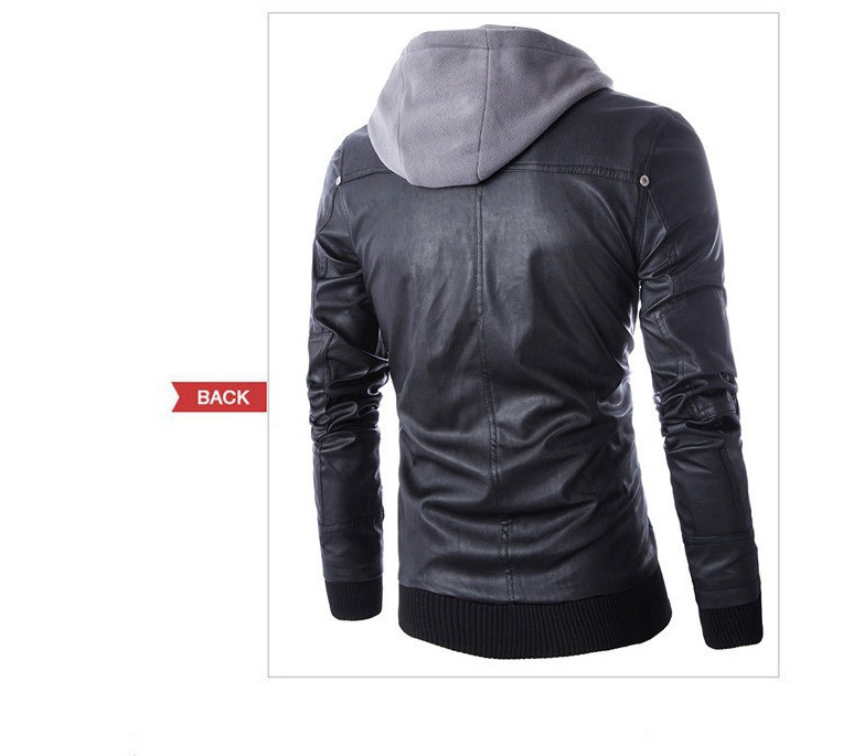 Winter Leather Jackets and Coats Men Hooded False Two Pieces ...