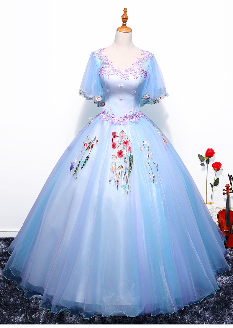 100%real light blue butterfly sleeve embroidery royal court medieval ...