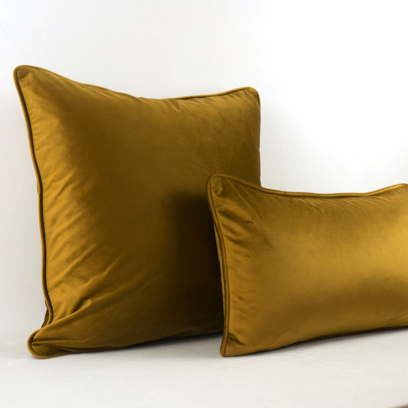 Soft Luxury Brown Gold Velvet Cushion Cover Pillow Case Bed Sofa Pillow Cover Piping Design No Balling up Without Stuffing Cushion Cover     - title=