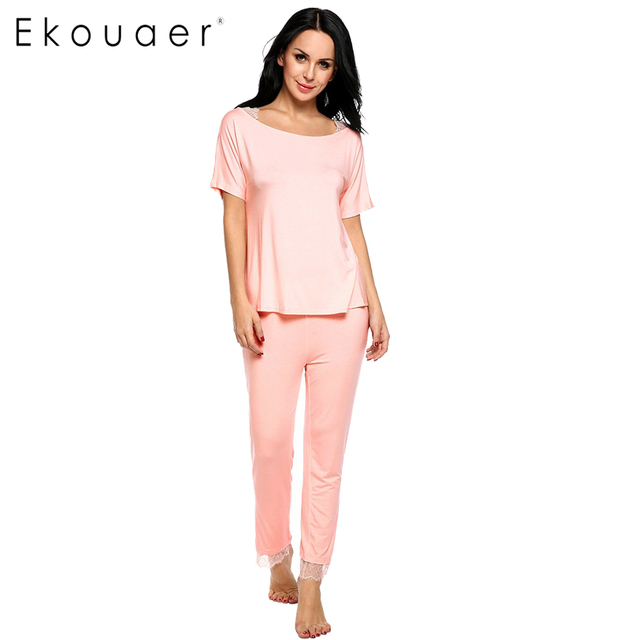 Ekouaer New Summer Women Pajama Set 2 Pieces Short Sleeve Sleepwear Set Lace Patchwork Elastic Sleepwear With Pants